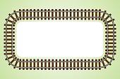 locomotive railroad track frame ,border vector illustration