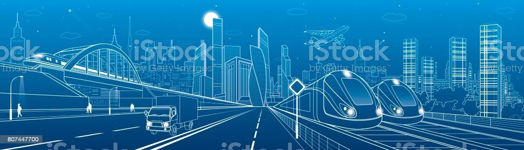 Locomotive rides on bridge. Truck driving to highway. Two trains. People walking. Urban infrastructure, modern city on background, towers and skyscrapers, airplane fly. Vector design art vector art illustration