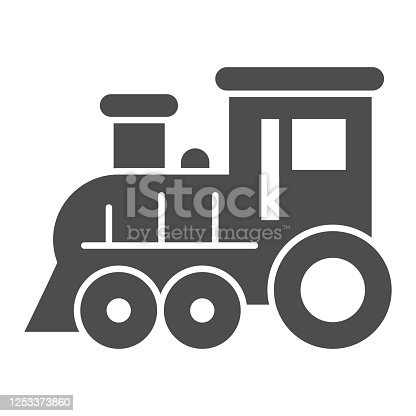 Locomotive solid icon, Amusement park concept, train sign on white background, Locomotive toy icon in glyph style for mobile concept and web design. Vector graphics