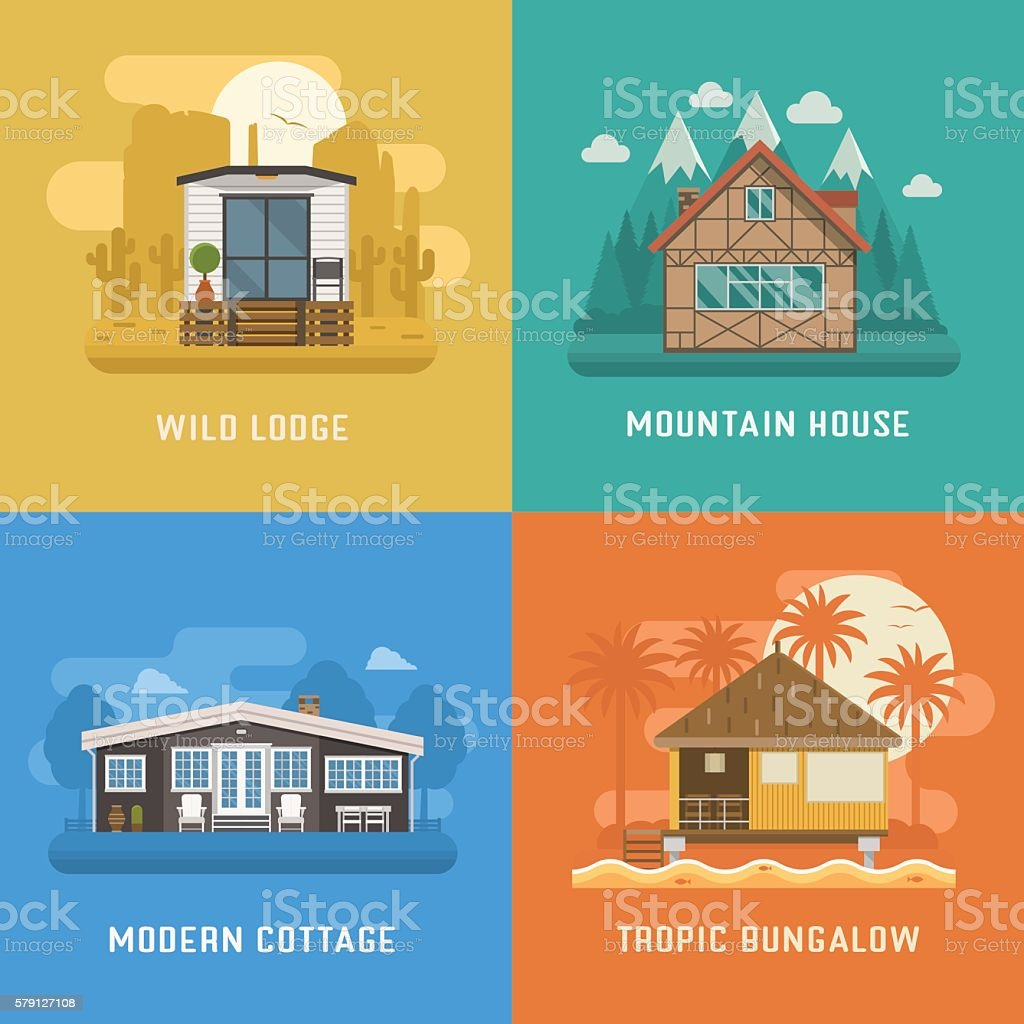 Lodge, Chalet, Cottage and Bungalow House Set vector art illustration