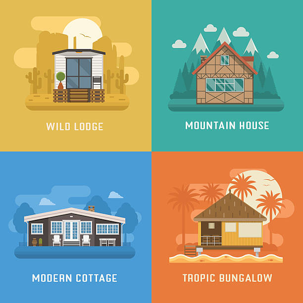 Lodge, Chalet, Cottage and Bungalow House Set Different dwelling set. Modern apartment at rural area, tropic bungalow at beach, mountain chalet house at national park and wild lodge at desert. Vector home poster collection. House booking and rent villa stock illustrations