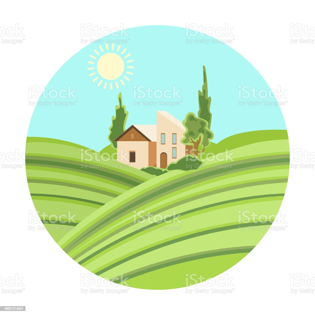 Lodge with vineyards icon in cartoon style isolated on white background. Wine production symbol stock vector illustration. - Royalty-free Abundance stock vector