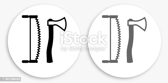 Lodging Tools Black and White Round Icon. This 100% royalty free vector illustration is featuring a round button with a drop shadow and the main icon is depicted in black and in grey for a roll-over effect.