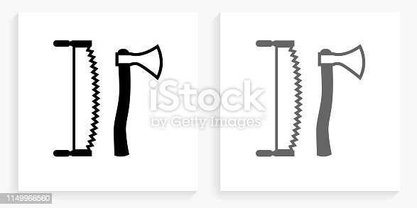 Lodging Tools Black and White Square Icon. This 100% royalty free vector illustration is featuring the square button with a drop shadow and the main icon is depicted in black and in grey for a roll-over effect.