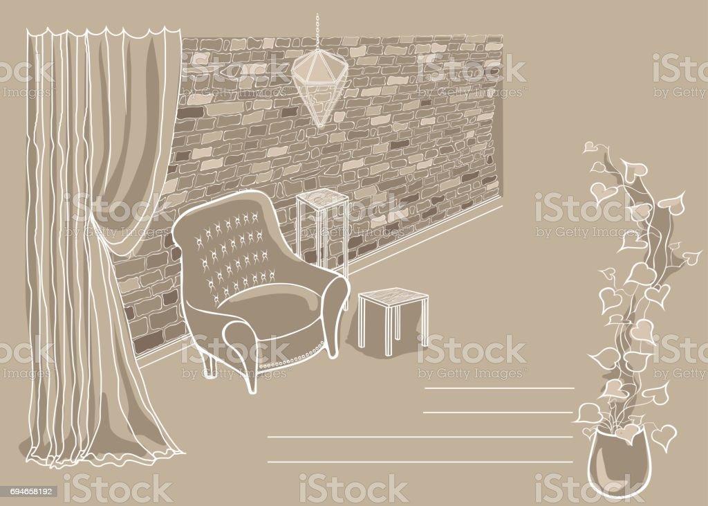 Ladrillo Loft loft beige de pared de ladrillo arte vectorial de stock y más