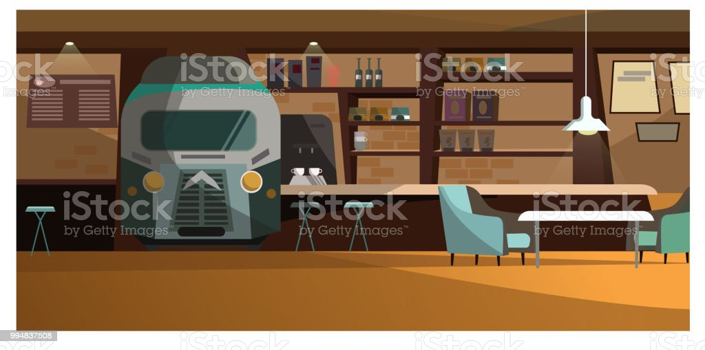 Loft cafe with unique design vector illustration vector art illustration