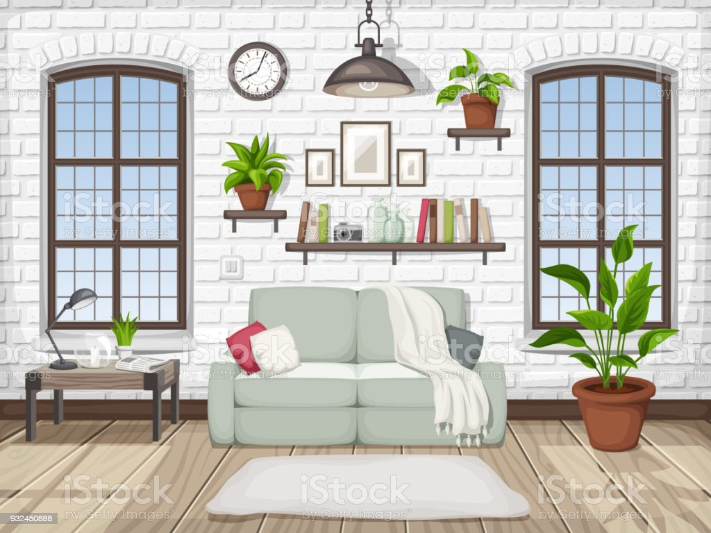 Loft Living Room Interior Vector Illustration Stock Vector Art ...