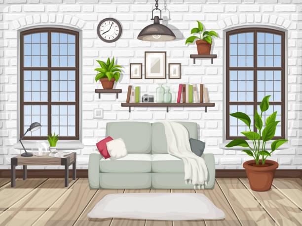 Loft Wohnzimmer Interieur. Vektor-Illustration. – Vektorgrafik