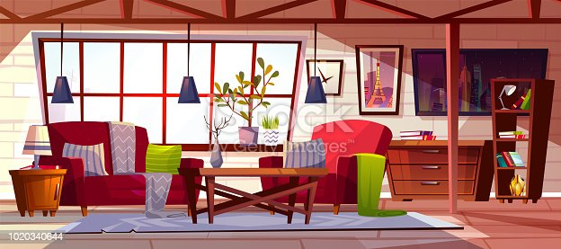 Loft lounge room interior vector illustration. Modern cozy spacious roof garret of cockloft apartments style with furniture, blanket on sofa, chair and velvet carpet with bookshelf