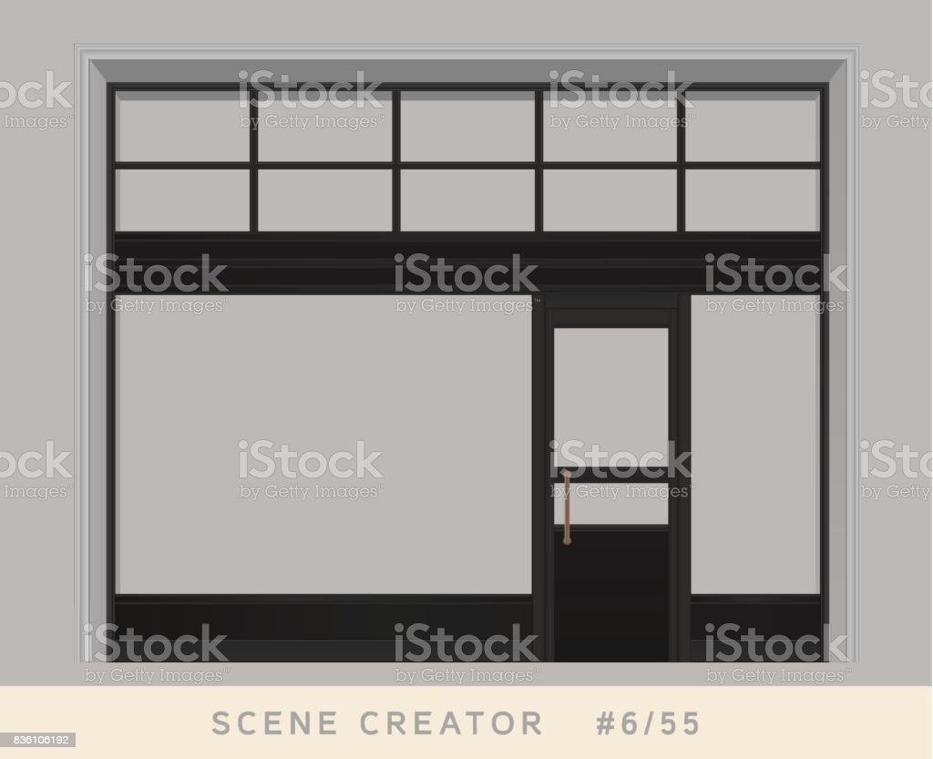 Loft styled windows and door facade. Isolated vector objects set. vector art illustration