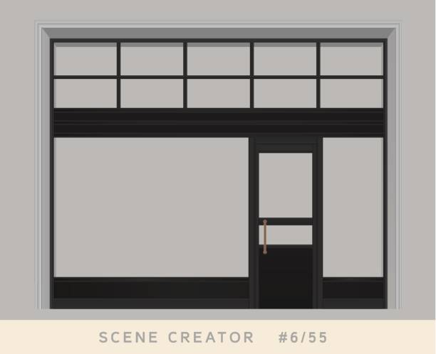 loft styled windows and door facade. isolated vector objects set. - wystawa sklepowa stock illustrations
