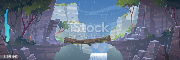 Log bridge between mountains above cliff at rainy weather. Scenery landscape with waterfall and trees background. Beautiful nature view, beam connect rocky edges under rain Cartoon vector illustration