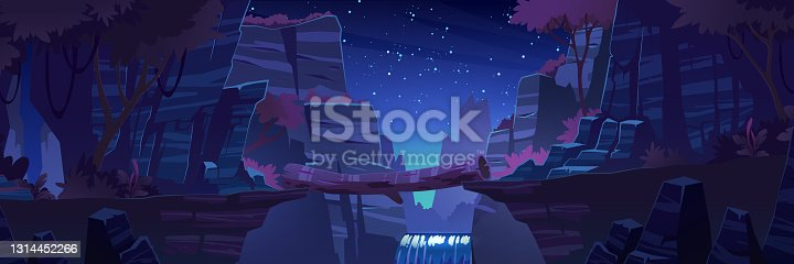Log bridge between mountains edges above cliff night time landscape, rock peaks, waterfall and trees under starry sky scenery background. Beautiful nature view with beam, Cartoon vector illustration
