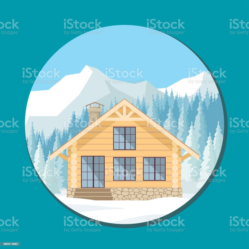 log cabin in the mountains vector art illustration