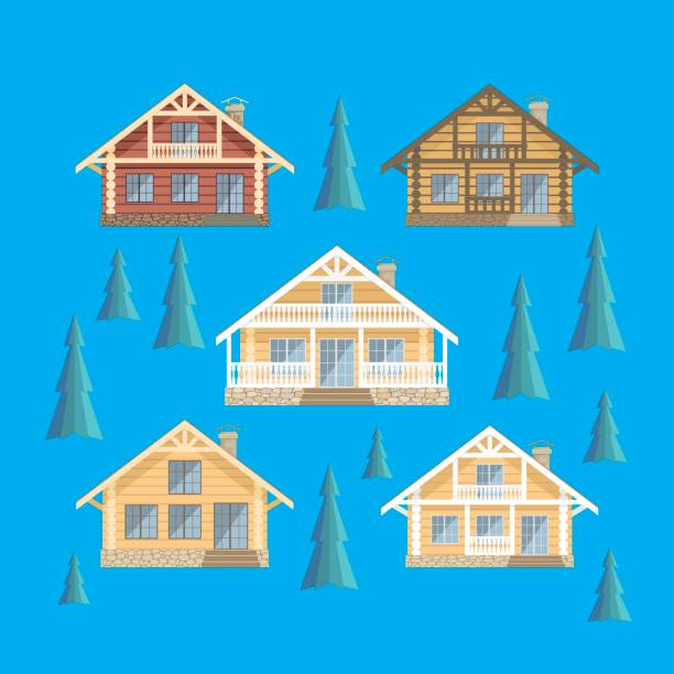 log cabin set - log cabin stock illustrations, clip art, cartoons, & icons