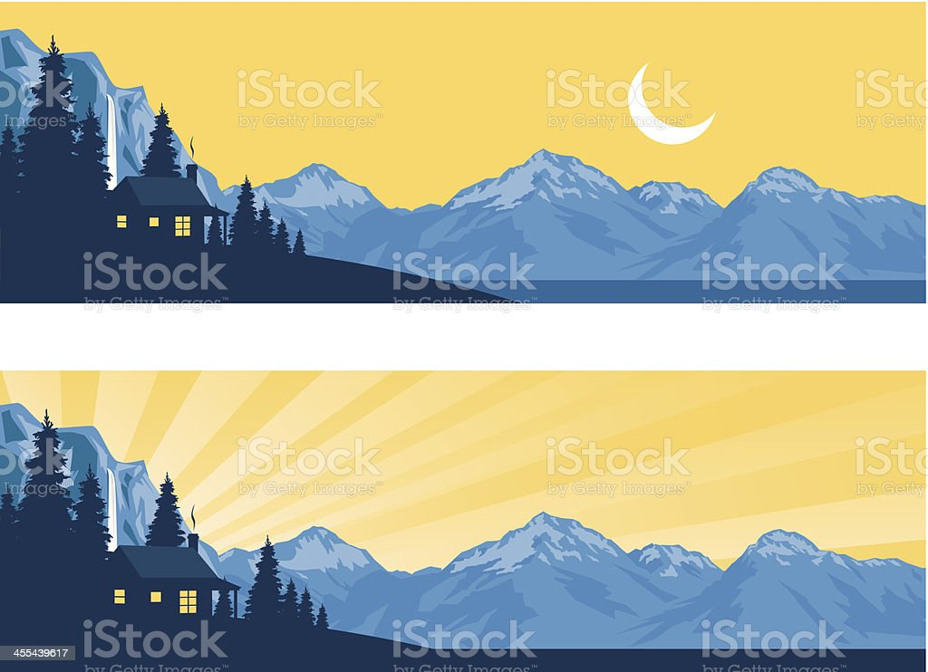 Log Cabin Silhouette in the Mountains vector art illustration
