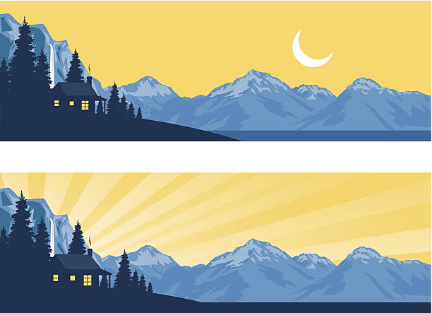 log cabin silhouette in the mountains - log cabin stock illustrations, clip art, cartoons, & icons