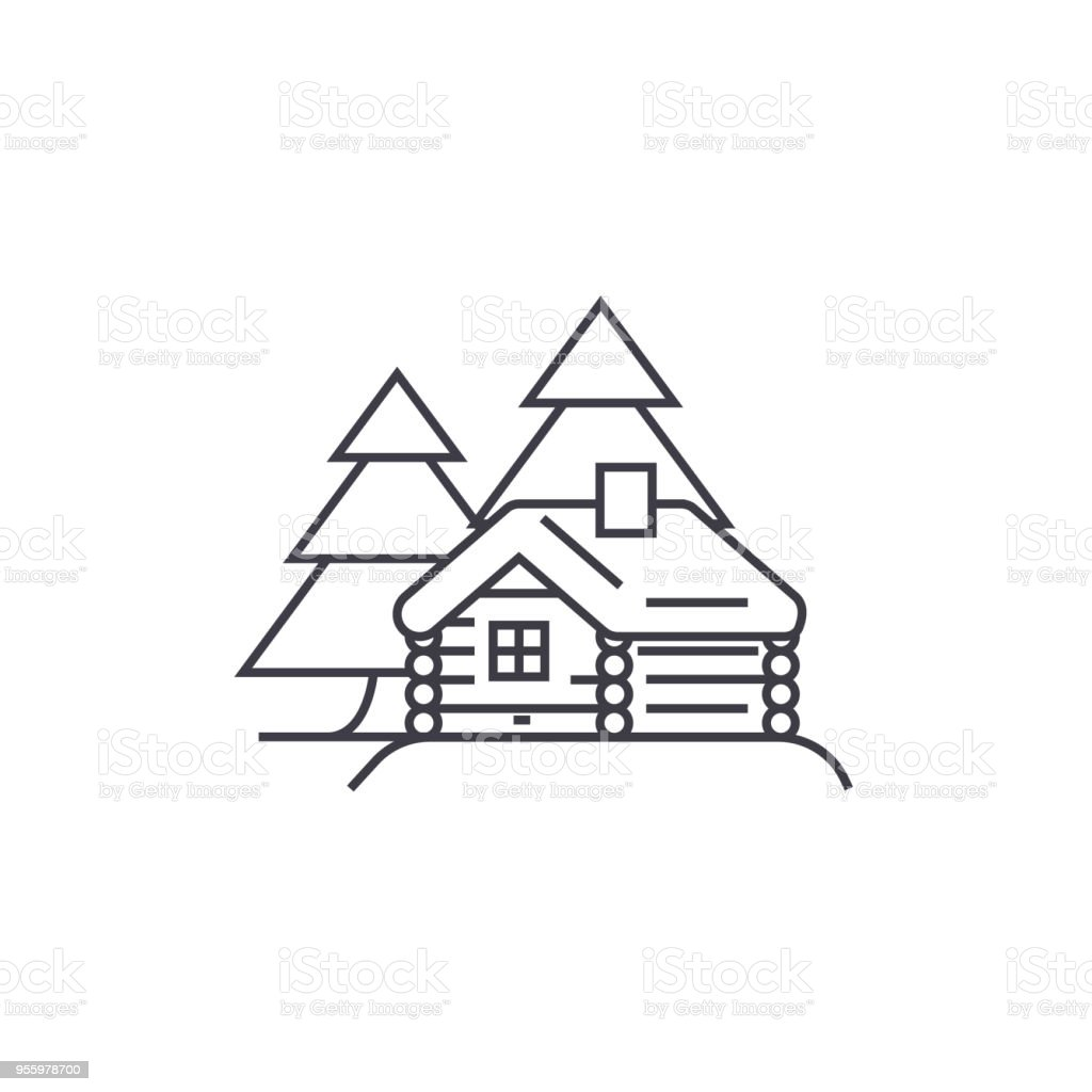 log cabin vector line icon, sign, illustration on background, editable strokes