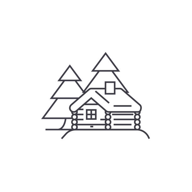 log cabin vector line icon, sign, illustration on background, editable strokes - log cabin stock illustrations, clip art, cartoons, & icons