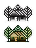 log cabin vector line icon