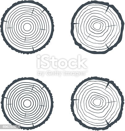 istock Log Cross section Four Isolated Illsutrations. Vector 696252014