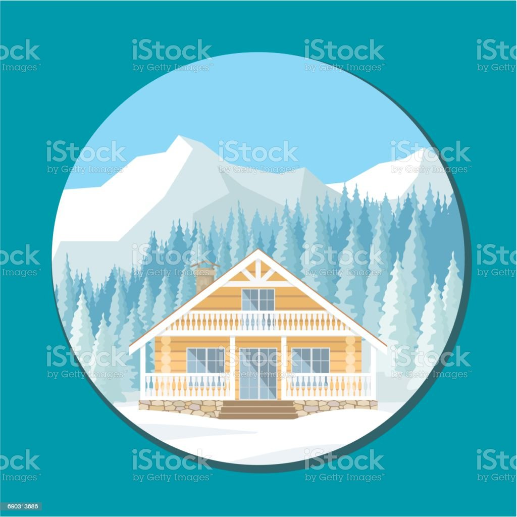log house in the mountains vector art illustration