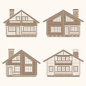 Log houses set