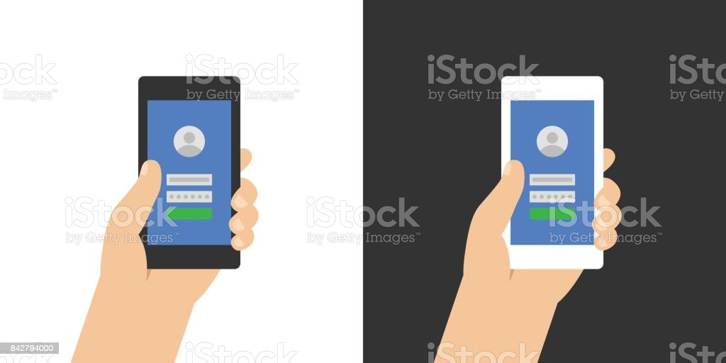 Log in page on smartphone screen. Hand holds the smartphone. Modern Flat design illustration. vector art illustration