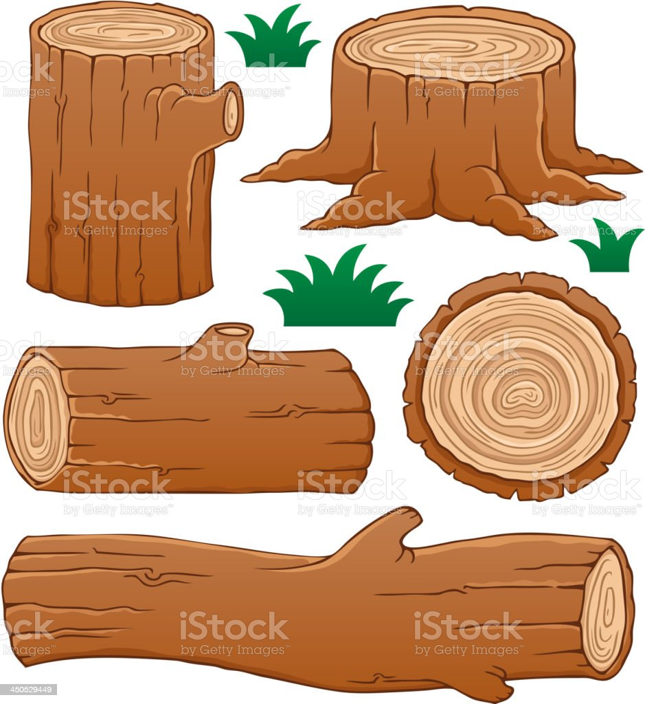 Log theme collection 1 vector art illustration