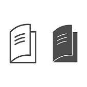 Logbook line and solid icon. Paper diary or daybook silhouette symbol, outline style pictogram on white background. Educational item sign for mobile concept and web design. Vector graphics.