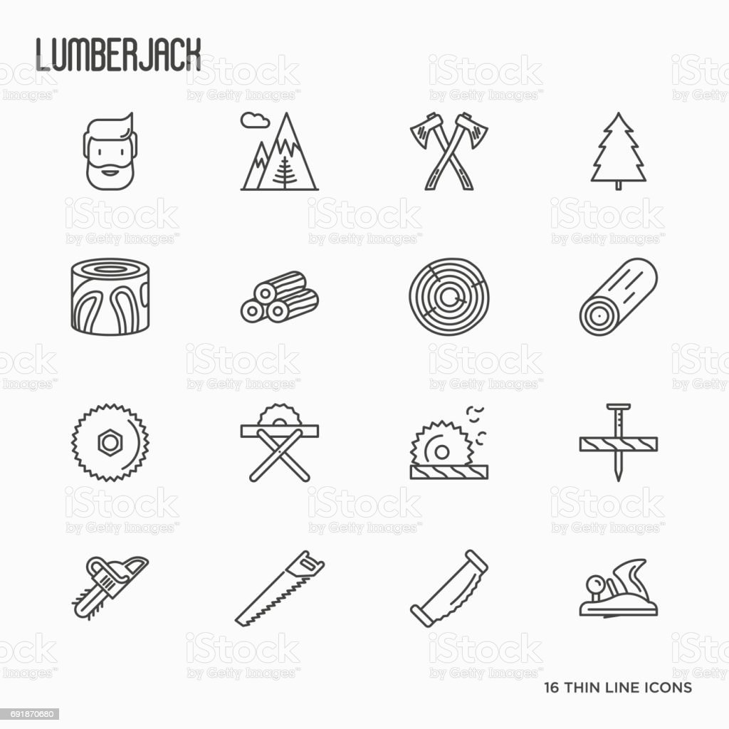 Logging and lumberjack with beard related thin line icons: jack-plane, sawmill, forestry equipment, timber, lumber. Vector illustration. vector art illustration
