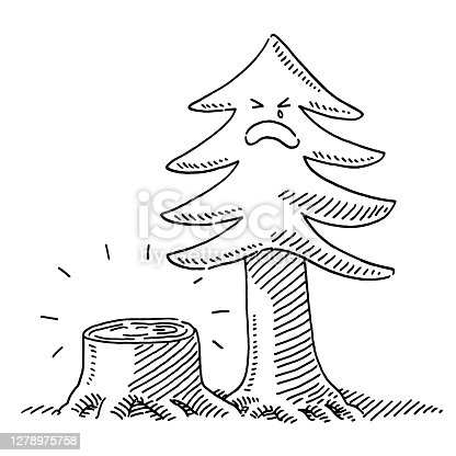 Hand-drawn vector drawing of a Logging Sad Tree Concept. Black-and-White sketch on a transparent background (.eps-file). Included files are EPS (v10) and Hi-Res JPG.