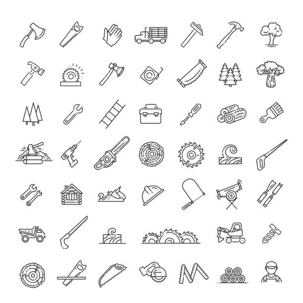 Logging, sawmill line icons. Instruments for working with wood The forest industry in the modern linear style icons carpenter stock illustrations