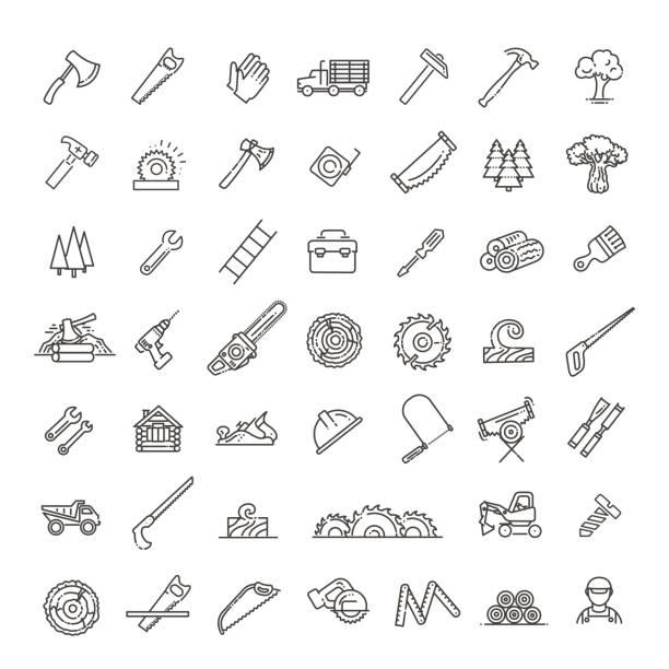 illustrazioni stock, clip art, cartoni animati e icone di tendenza di logging, sawmill line icons. instruments for working with wood - industria forestale