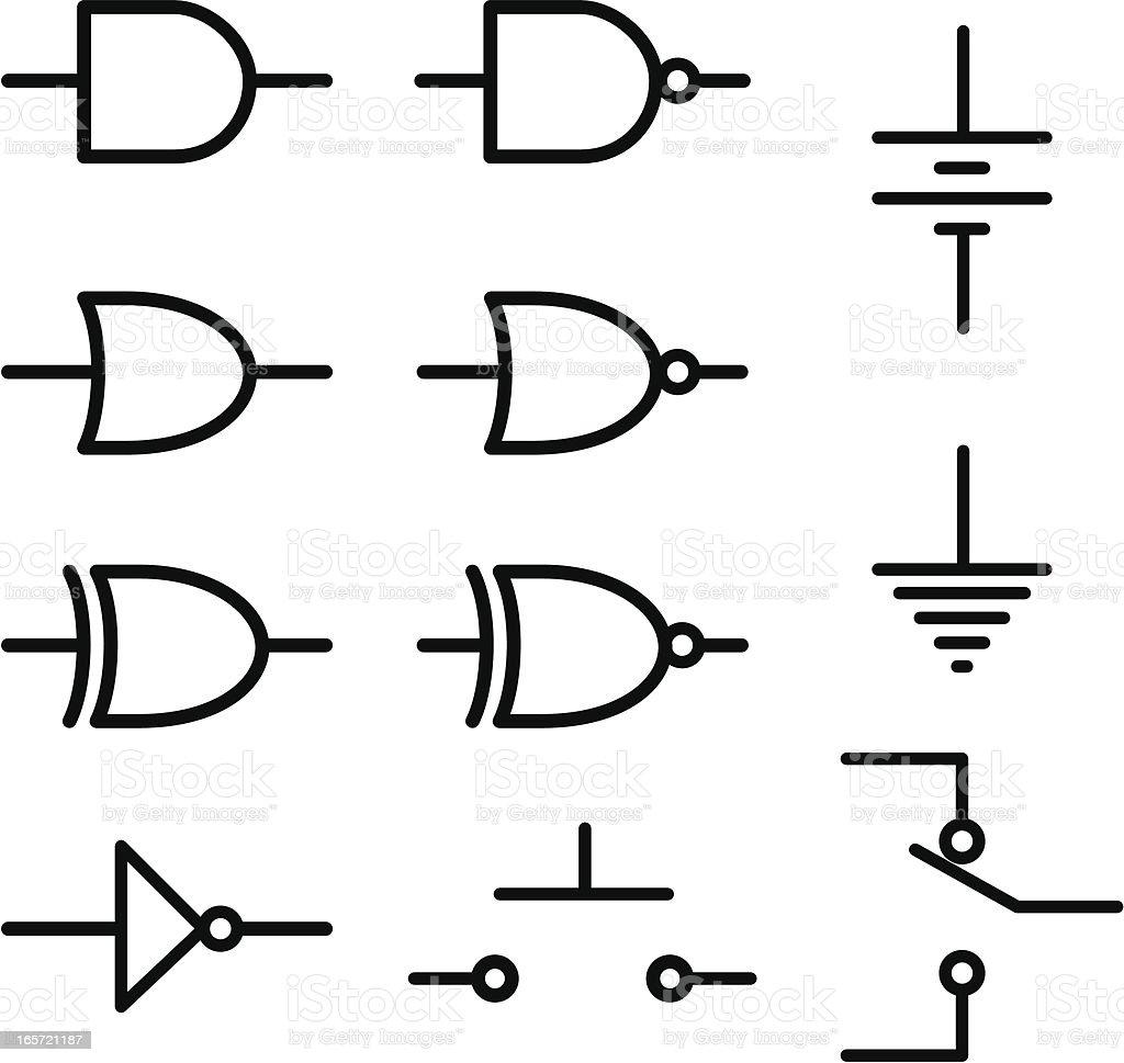 Logic and DC Cirucit Schematic Symbols royalty-free logic and dc cirucit schematic  symbols stock