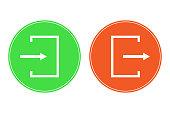 ログインとログアウトのボタン。入口と出口のアイコン。ベクトル