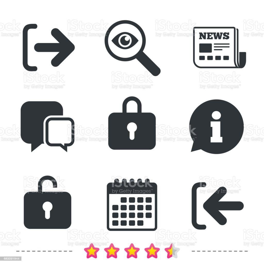Login and Logout icons. Sign in icon. Locker. login and logout icons sign in icon locker - arte vetorial de stock e mais imagens de aplicação móvel royalty-free