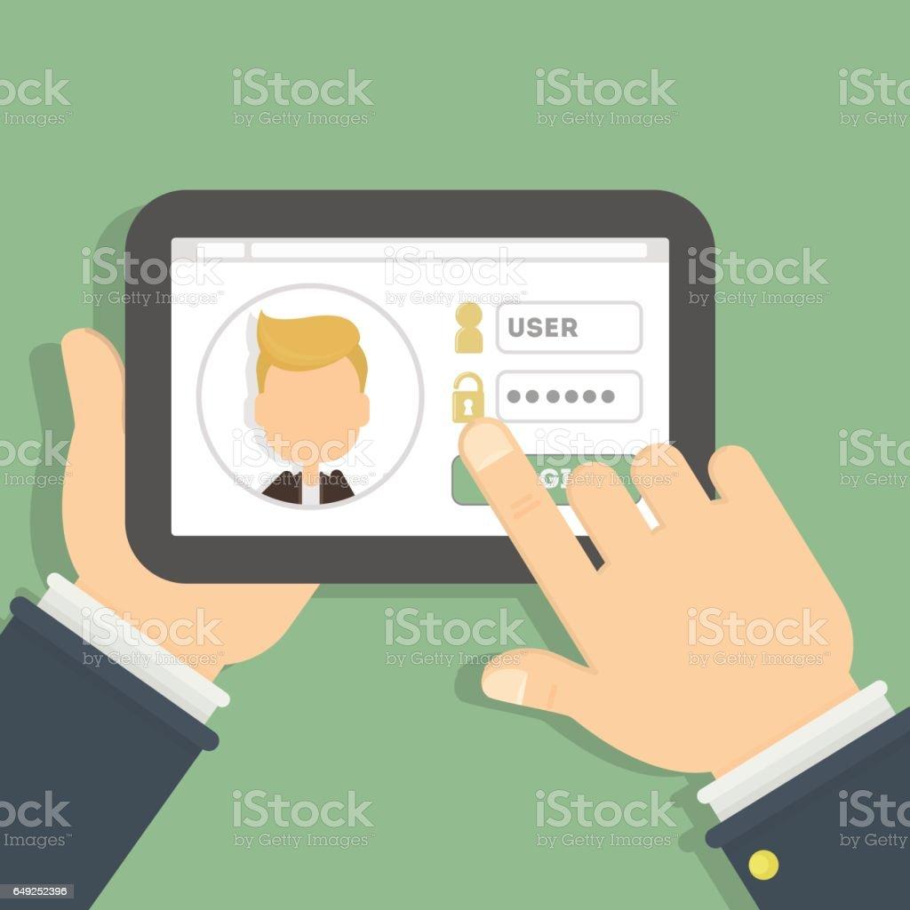 Login and password. vector art illustration
