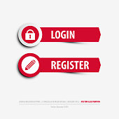 login and register buttons containing: two differently designed isolated web buttons, login and register symbols, flat, minimal, material design style, eps10 vector illustration