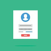 Login form icon. Login form page. Flat design vector icon