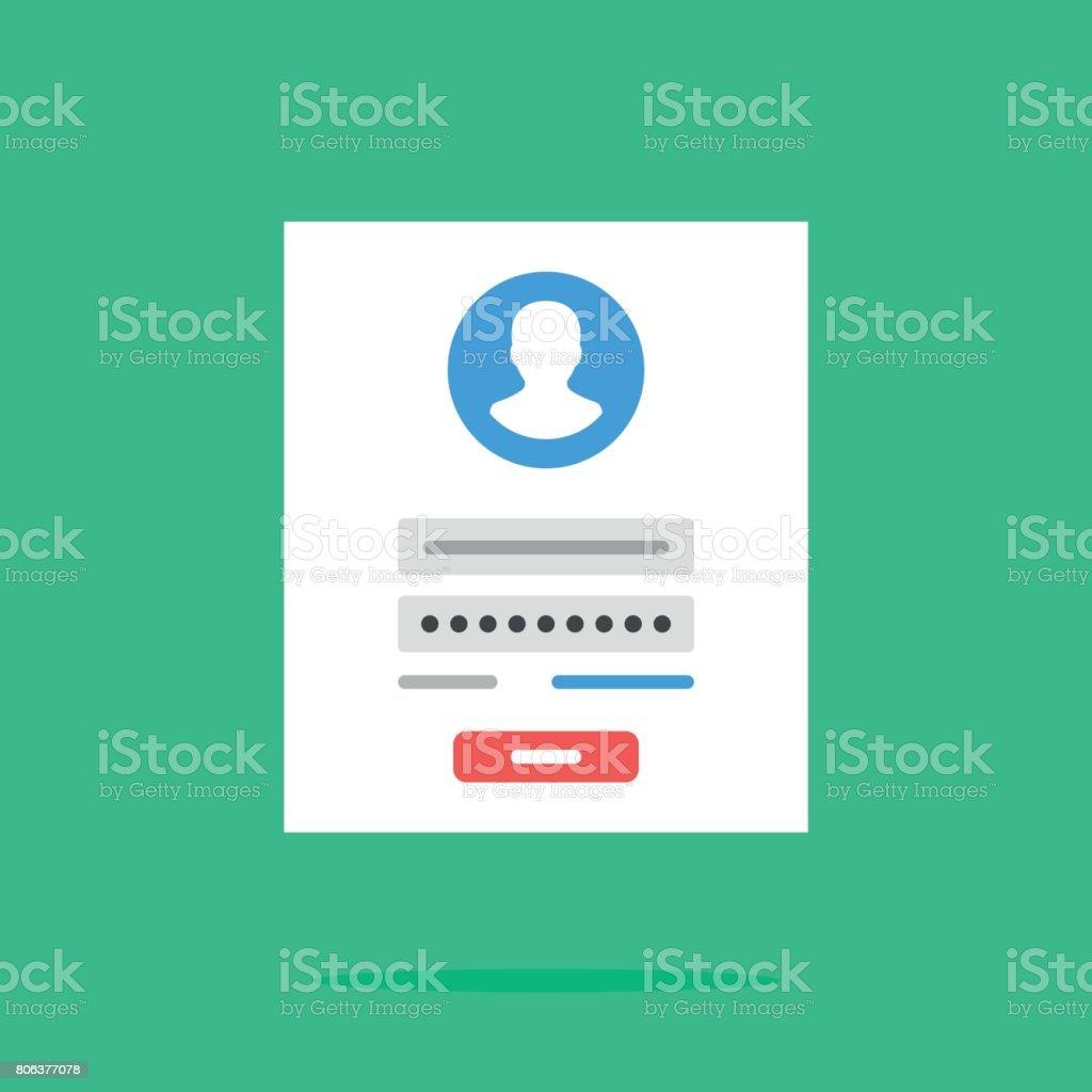 Login form icon. Login form page. Flat design vector icon vector art illustration