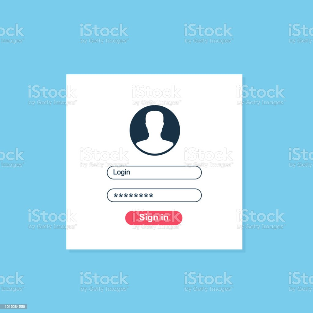 Login form page. Registration, authentication, authorization concepts. Modern flat design graphic elements. Vector illustration on background. vector art illustration