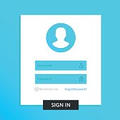 Login form page. Registration form, access concepts. Username and password fields. Modern clean design UX elements, UI elements with line icons. Trendy vector illustration