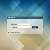 login form ui element on modern background. Layered. Isolated from background.