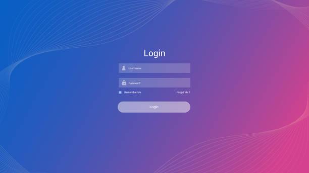 Login form user interface vector Login form user interface vector application form stock illustrations