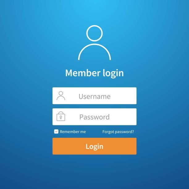 bildbanksillustrationer, clip art samt tecknat material och ikoner med login-formuläret. webbsida ui konto skärmen registrera profil posten skicka nätverk vektor logga in gränssnittsmall - logga in