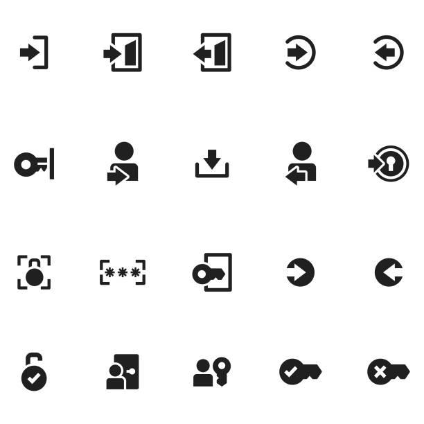 illustrations, cliparts, dessins animés et icônes de icônes de connexion - entrée