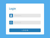 Login or sign in page on web site. Mockup with username and password fields in blue window for members. Log in template with blank ui illustration. Sign in form or registration. Vector EPS 10