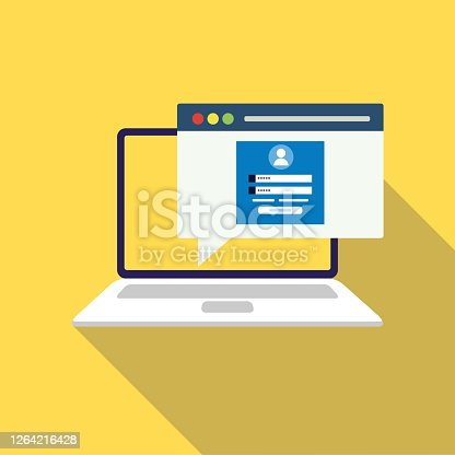 istock Login page on laptop screen. Notebook and online login form, sign in page. User profile, access to account concepts. Vector illustration. stock illustration 1264216428