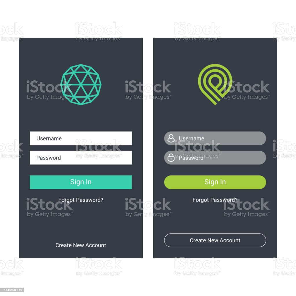Login Screen And Sign In Form Template For Mobile App Or Website ...